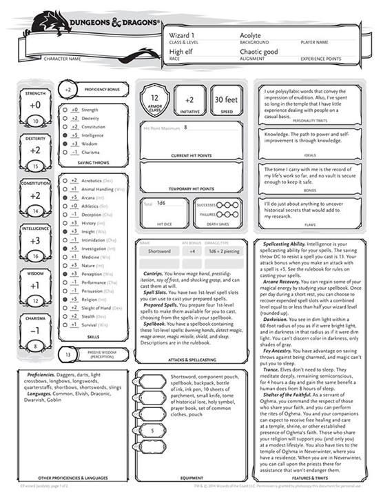 D&D 5 0 Next Character Sheet - High Elf Wizard 1 Acolyte | Book