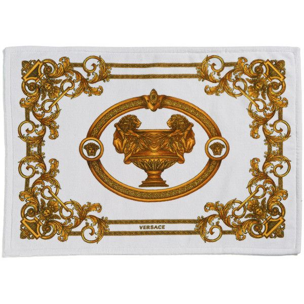 Versace Bath Mat 50x70cm White Gold 205 Liked On Polyvore Featuring Home Bed Bath Bath Bath Rugs Gold Bath Mat Gold Bathroom Rugs White Bath Mat