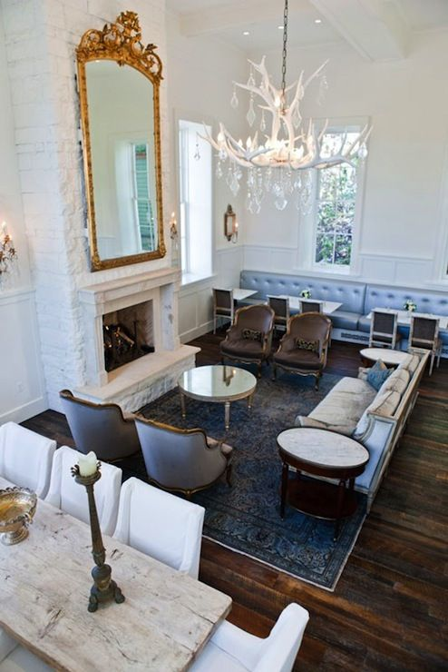 Boutique Hotel Living Room Dining Room Combo With Two Story