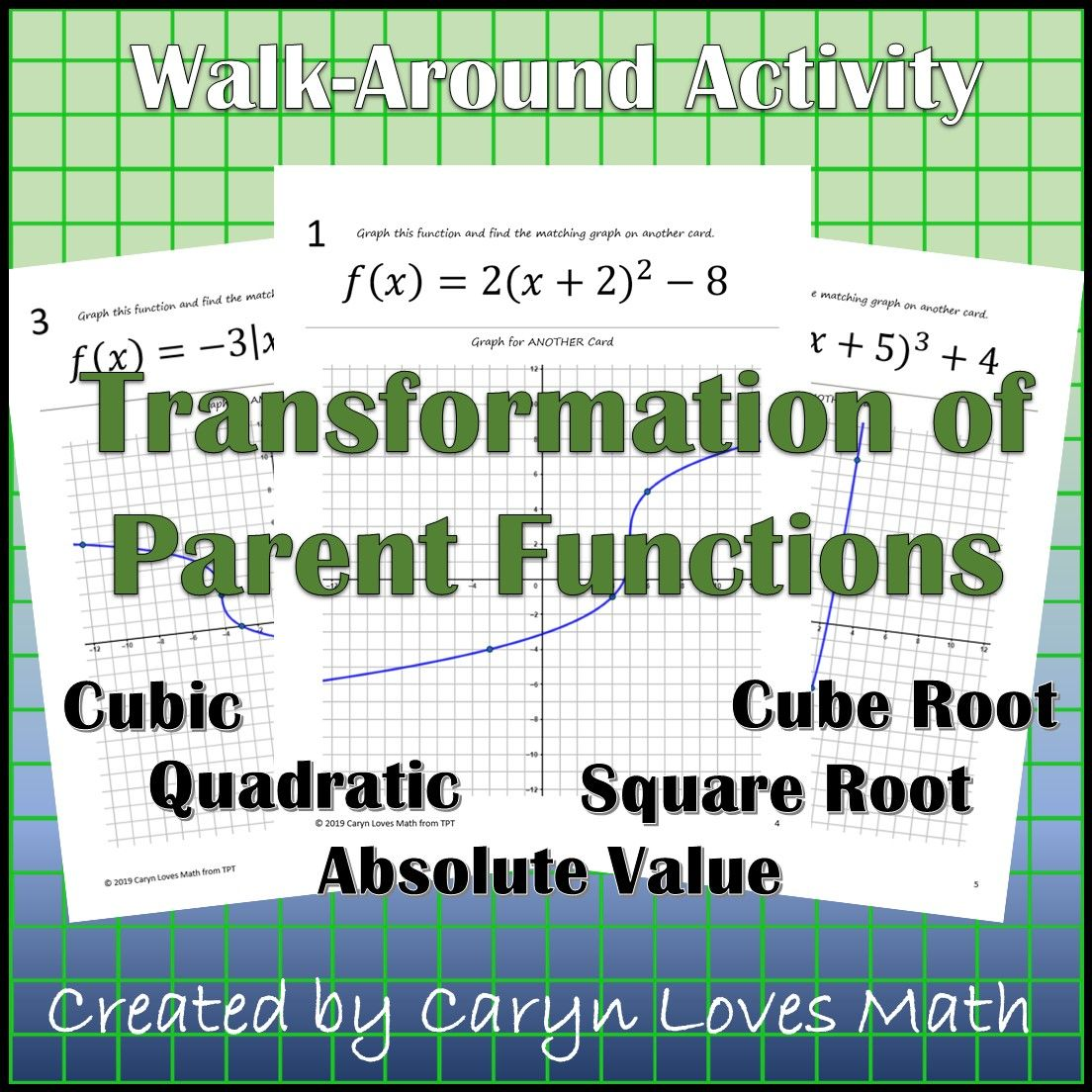 Graphing Parent Functions Using Translation Dilation Walk Around Activity L2 From Caryn Loves Math Parent Functions Love Math Quadratics