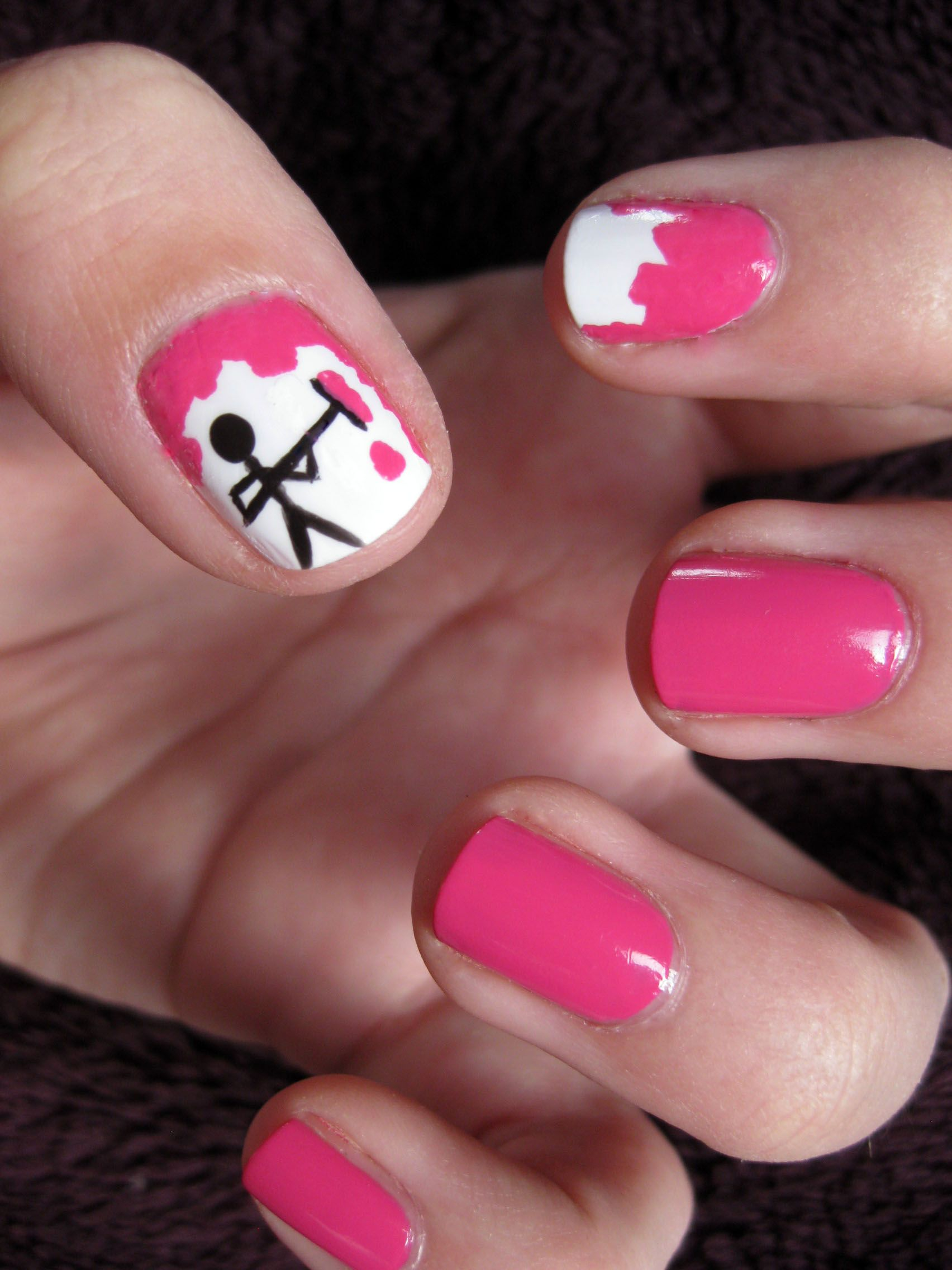 Stick Man Done From A Design I Found On Pinterest Izzit Cool Nail Designs Nail Tutorials Fun Nails