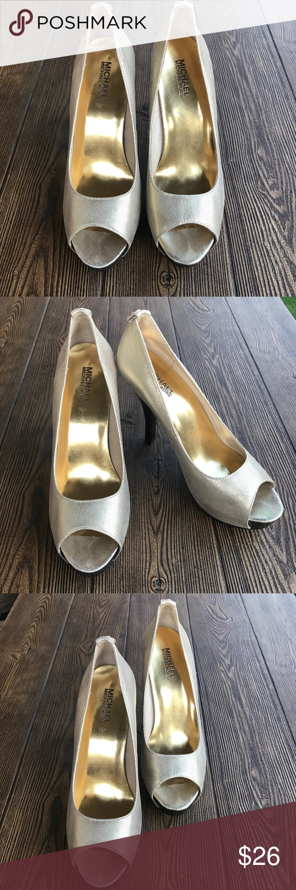 7171bcbdb8a michael kors shoes Used Gold Open Toe High Heels   Beautiful Womens michael  kors shoes 9 Used Gold Open Toe High Heels Authentic.