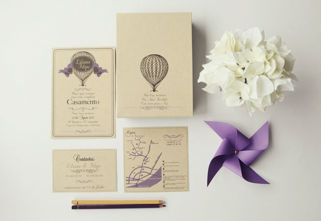 Vintage hot air balloon and a paper windmill - lovely for a wedding invitation, but also for a children's birthday party?