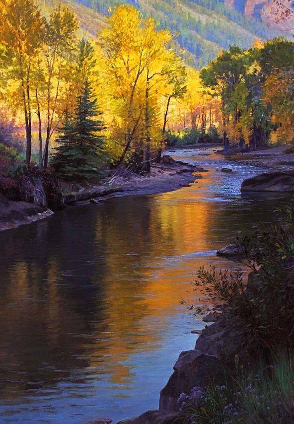 Sun Setting Over The River Landscape Art Landscape Paintings River Painting