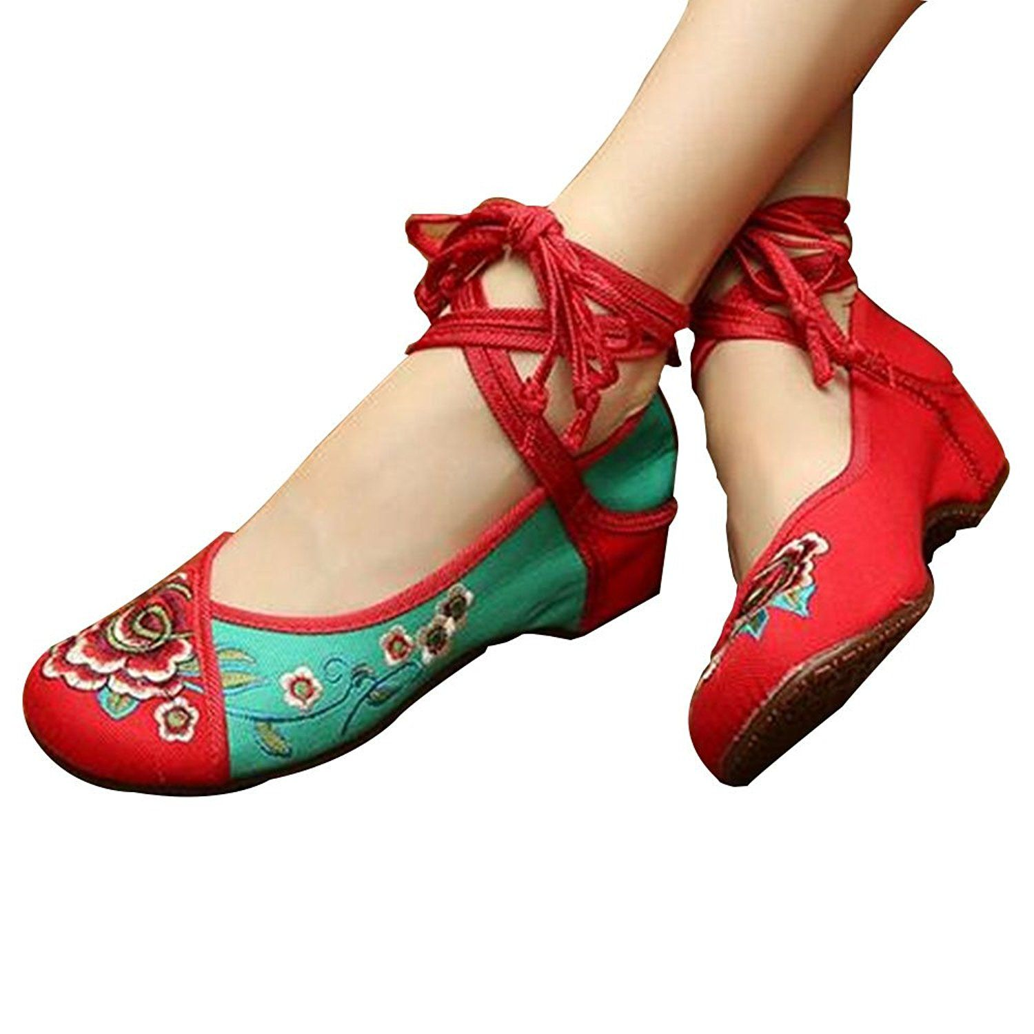 Chinese Embroidered Floral Shoes Women Ballerina Mary Jane Flat Ballet Cotton Loafer Red and Green