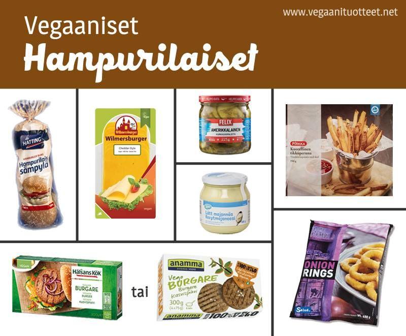 Vegaanisia täyte-ehdotuksia: raaka tai paistettu sipuli, salaatti, tomaatti, maustekurkku, marinoidut sienet, grillattu ananas, BBQ-kastike, Hesburger valkosipulisalaatinkastike, Xtra kevytmajoneesi, Wilmersburger cheddarviipale, guacamole, jalapenoviipaleet... Kastikkeita: http://www.vegaanituotteet.net/valmisruuat/kastikkeet Ranskalaiset ja sipulirenkaat: http://www.vegaanituotteet.net/valmisruuat/pakaste Pakastepihvit ja pihviainekset: http://www.vegaanituotteet.net/valmisruuat/soijaruoka