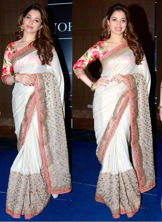 6140ef8c64 Tamanna Bhatia White Satin Silk Saree | Bollywood Replica Collection ...
