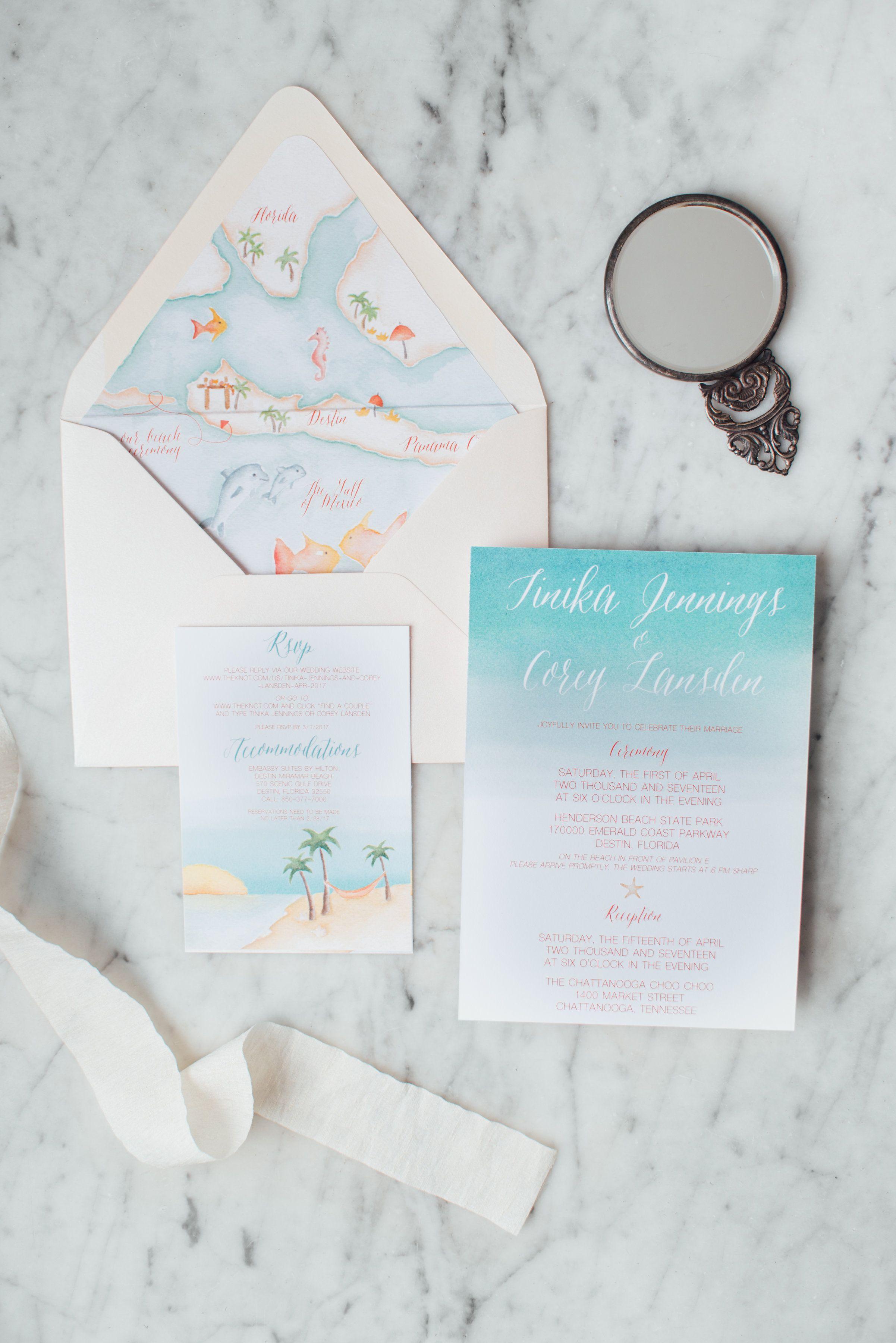 Beach wedding map suite | Handpainted beach watercolor wedding ...