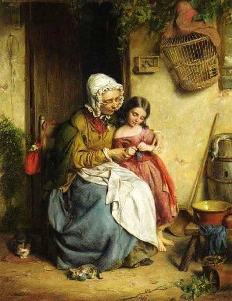 John Thomas Peele (English-born American genre artist, 1822–1897) The Knitting Lesson