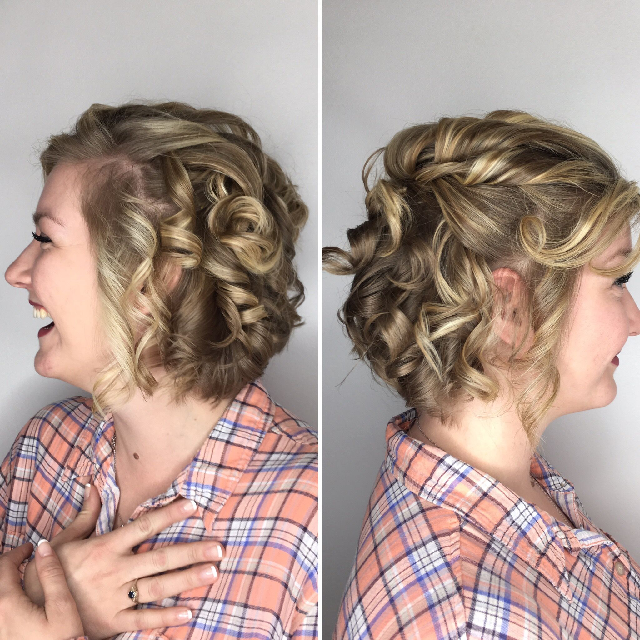 Stunning curls for short hair with a semi formal half updo using