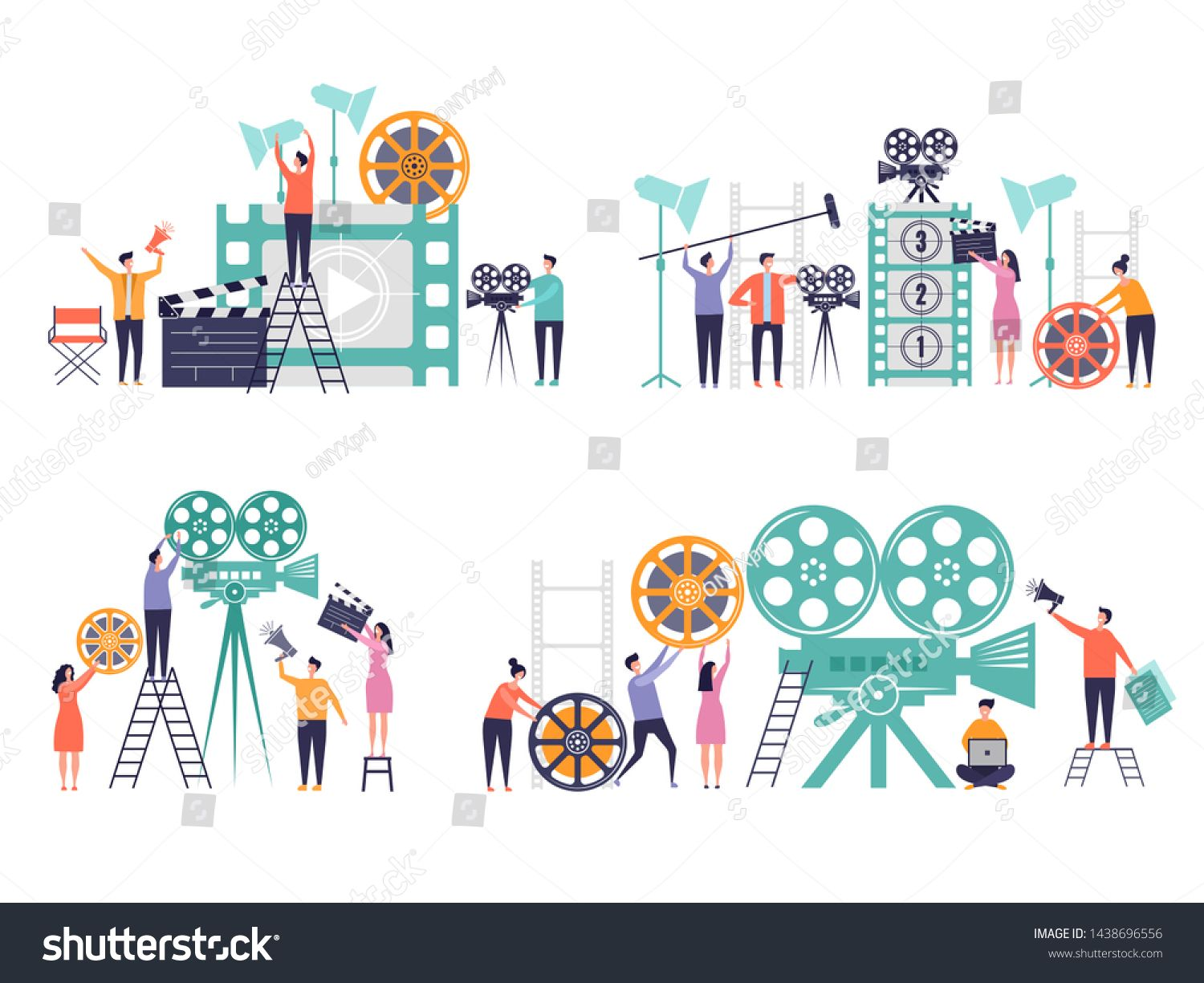 Movie Production Concept Flat Characters Making Films Video Camera Clapboard Filming Person Vector Colored Backgroun In 2020 Making Film Modern Graphic Art Video Film