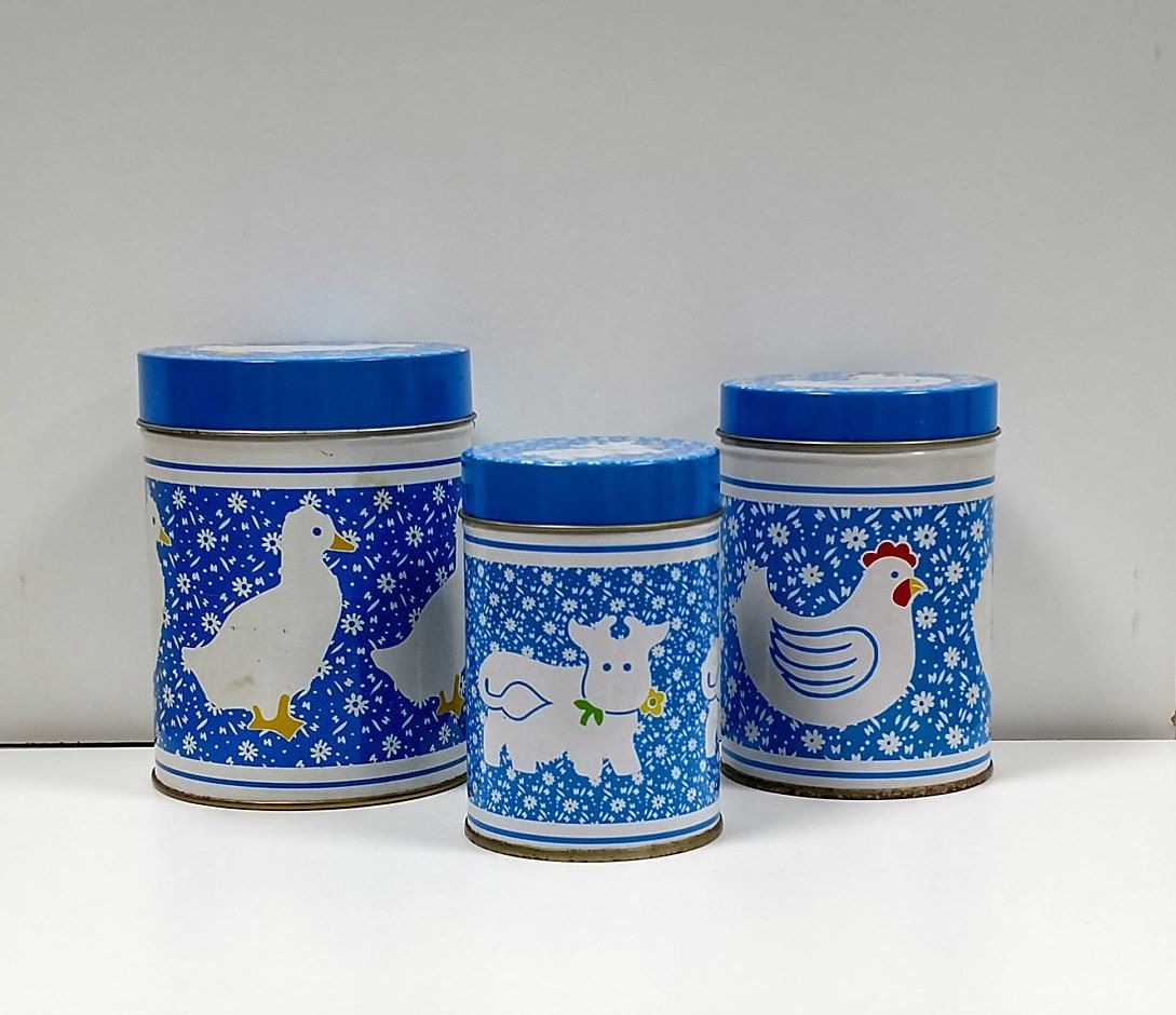 Country kitchen canisters farmhouse nesting storage tin