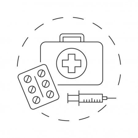 Medical first aid kit with pills outline illustration