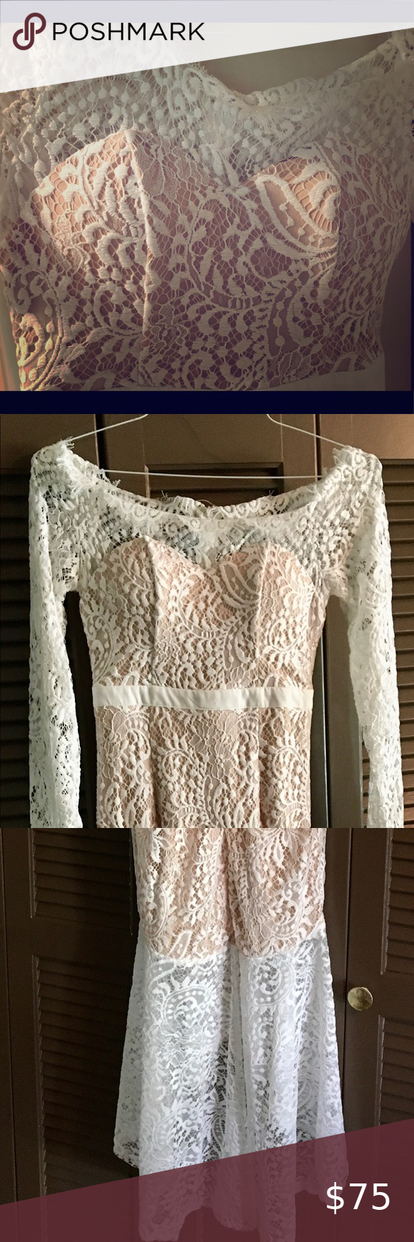 White Lace Dress With Tan Underlay Never Worn Lace White Dress Lace Dress White Lace [ 1740 x 580 Pixel ]