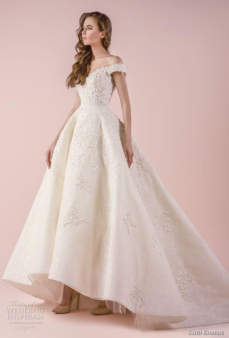 a4e11b94d6b saiid kobeisy 2018 bridal off the shoulder v neck heavily embellished  bodice princess romantic high low ball gown wedding dress chapel train  (3254) mv ...