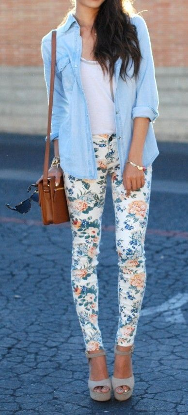 Floral print jeans with a denim top