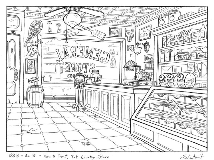 Here\'s the inside of that general store from the last scene ...