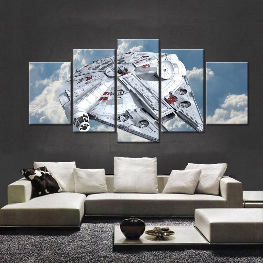 Star Wars Millennium Falcon 5 Pieces Canvas Wall Art Millennium Falcon Wall Art Customized Canvas Art Star Wars Canvas Art