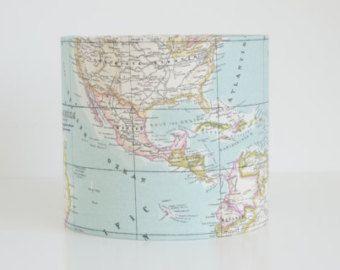 Lampshade in world map print fabric handmade drum lampshade drums drum lampshade 30 cm handmade in world map print fabric gumiabroncs Images