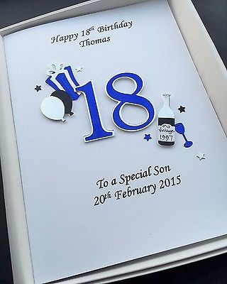 18th Birthday Card For Men Son Grandson Nephew Personalised Handmade Gift Boxe