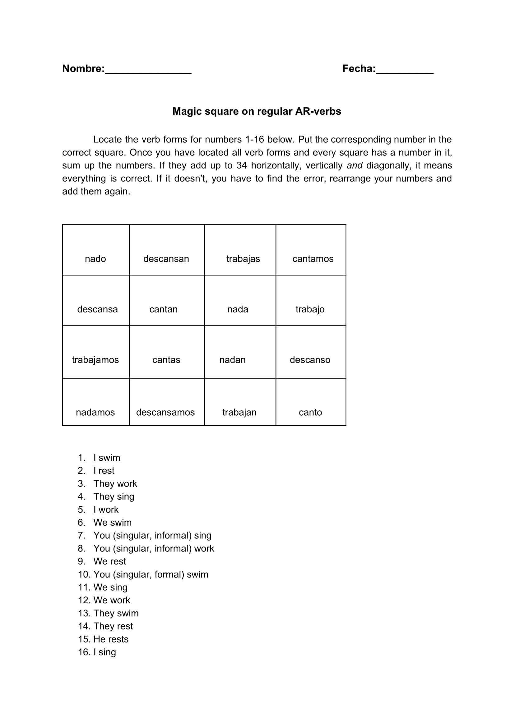 Spanish Ar Verb Conjugation Magic Square Fun No Prep