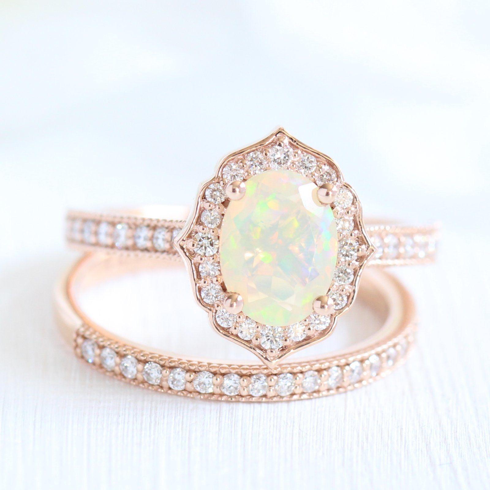 Oval Vintage Floral Bridal Set in Milgrain Band w/ Opal