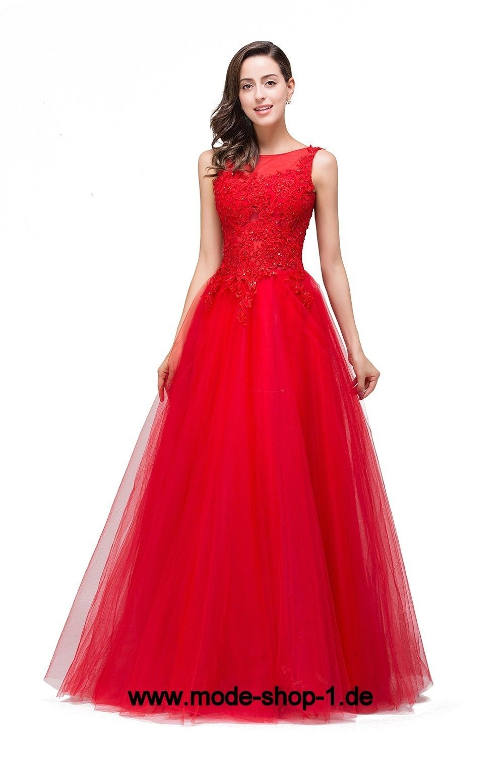 a linie abendkleid 2019 bodenlang in rot mit tüll rock