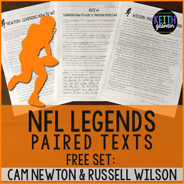 FREE Football Paired Texts: Cam Newton & Russell Wilson