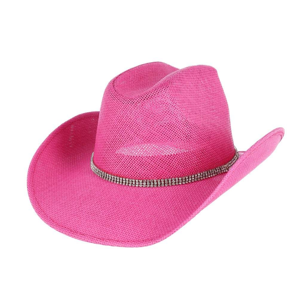 Jacobson Hat Company Women S Pink Toyo Western Cowgirl Hat With Rhinestones Cowgirl Hats Pink Ladies Cowgirl