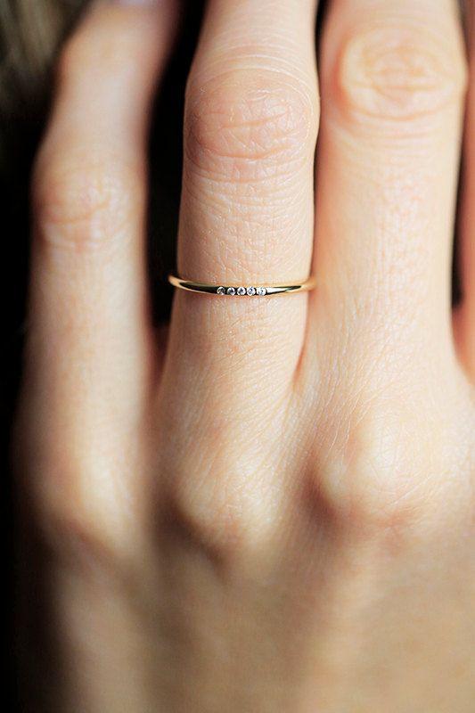 Thin Gold Diamond Ring Pave Diamond Band Thin Diamond