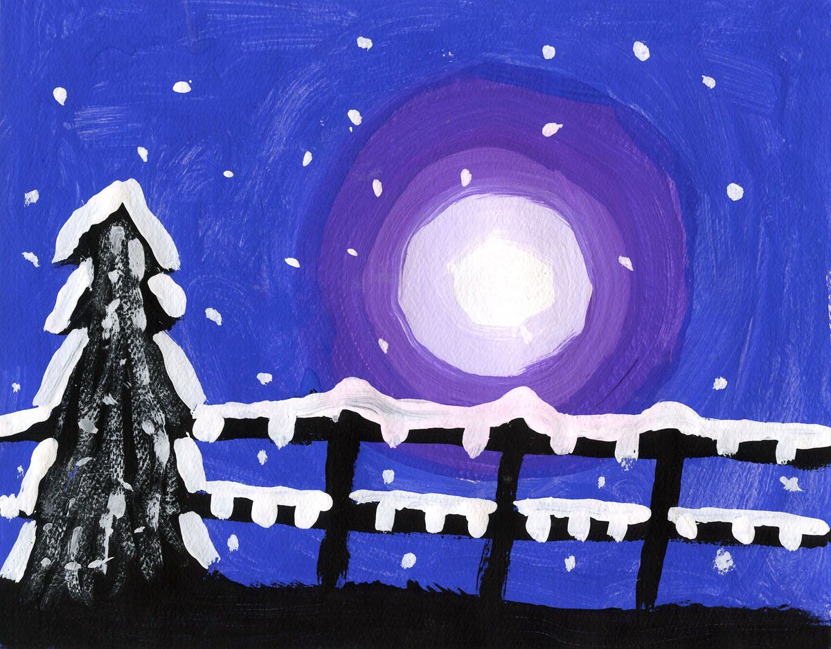 Snowy Winter Silhouette Painting Art Projects For Kids Kids Art Projects Winter Art Projects Winter Art