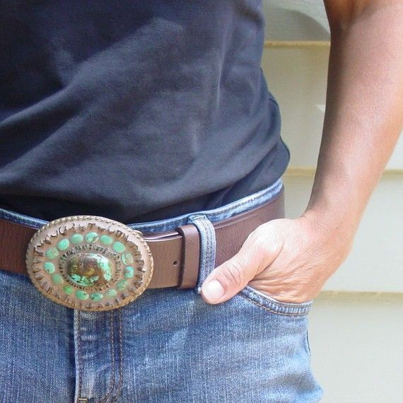 Turquoise Belt Buckle - Mosaic Belt Buckle - Unisex Gift for Urban Cowboy or Hip Dad or Cool Mom with Southwestern Flair on Etsy, $125.00