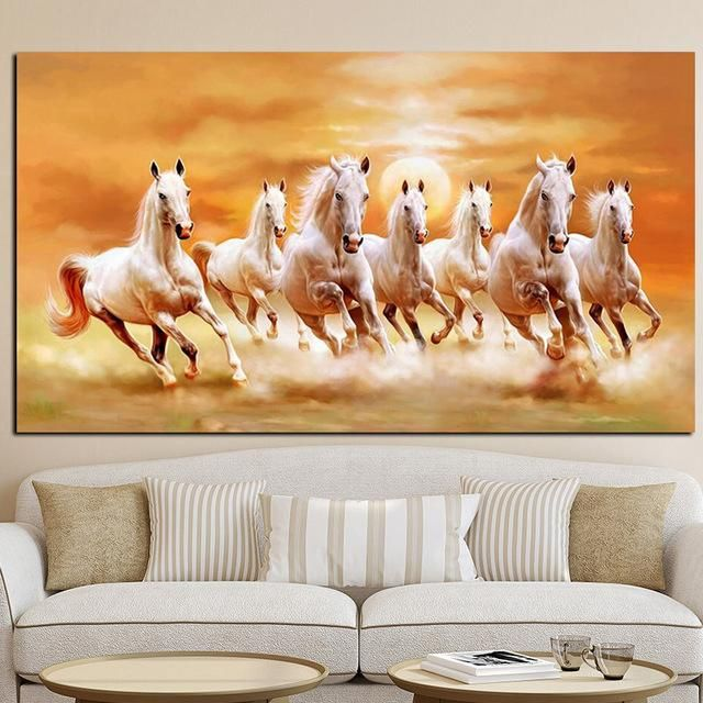 Seven Running White Horse Animals Painting Artistic Canvas Art Gold Posters And Prints Modern Horse Canvas Painting White Horse Painting Modern Canvas Painting