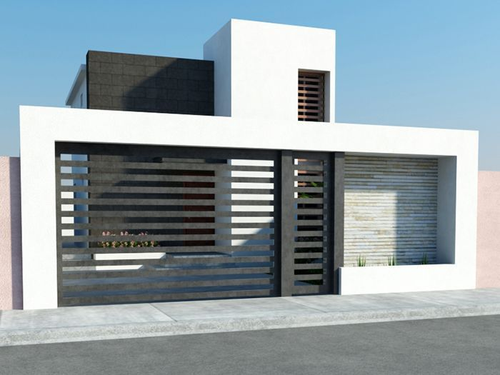 Fachada de casa peque a moderna casas pinterest for Casas modernas y pequenas