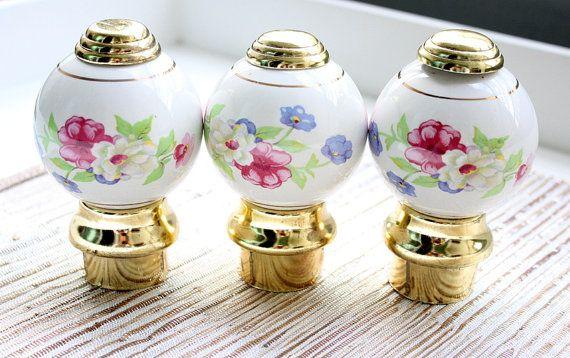 Ceramic Finials Bed Posts / Porcelain Door Knobs / Floral