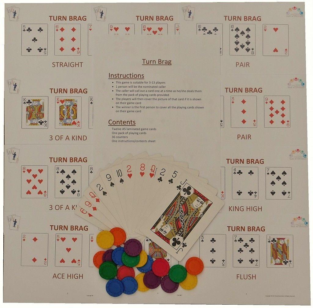 Turn Brag Card Game Card games, Games for elderly