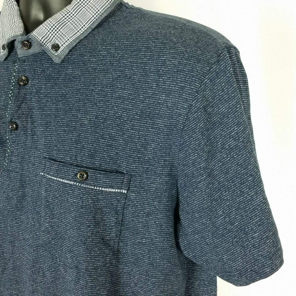f80a1d084b Denim   Flower Ricky Singh Blue Plaid Contrast Collar Knit Polo Shirt S S  Large  DenimFlower  PoloRugby