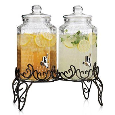 Thick Glass Double Beverage Dispenser With Spigots Lids On Metal Wire Stand Elegant Party Centerpiece 1 Gallon Each Drink Dispenser Wine Drinks Wine Barrel Glass water dispenser with stand