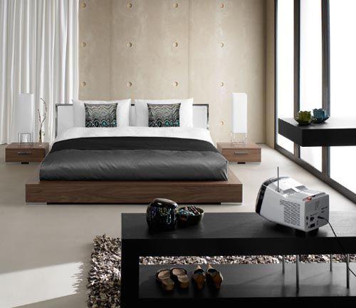 Stainedwalnutveneerleatherbedfromboconceptbedroomfurniture - Boconcept bedroom furniture