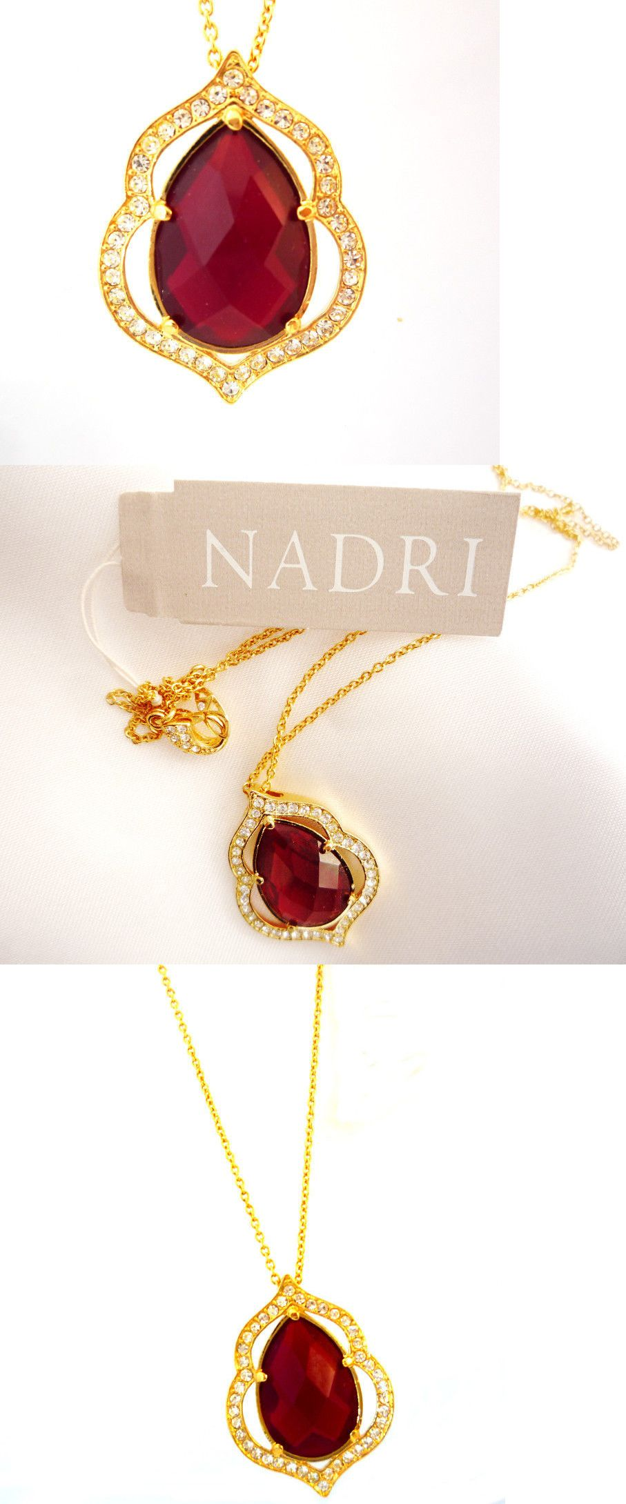 Necklaces and pendants new nadri ruby red crystal and gold