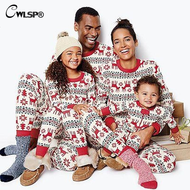 bad0b9011c CWLSP Parent-child Christmas Pajama Sets Elk Partter Printed Long Sleeve  Tops and Long Pants Autumn Suits Xmas Two Piece Set