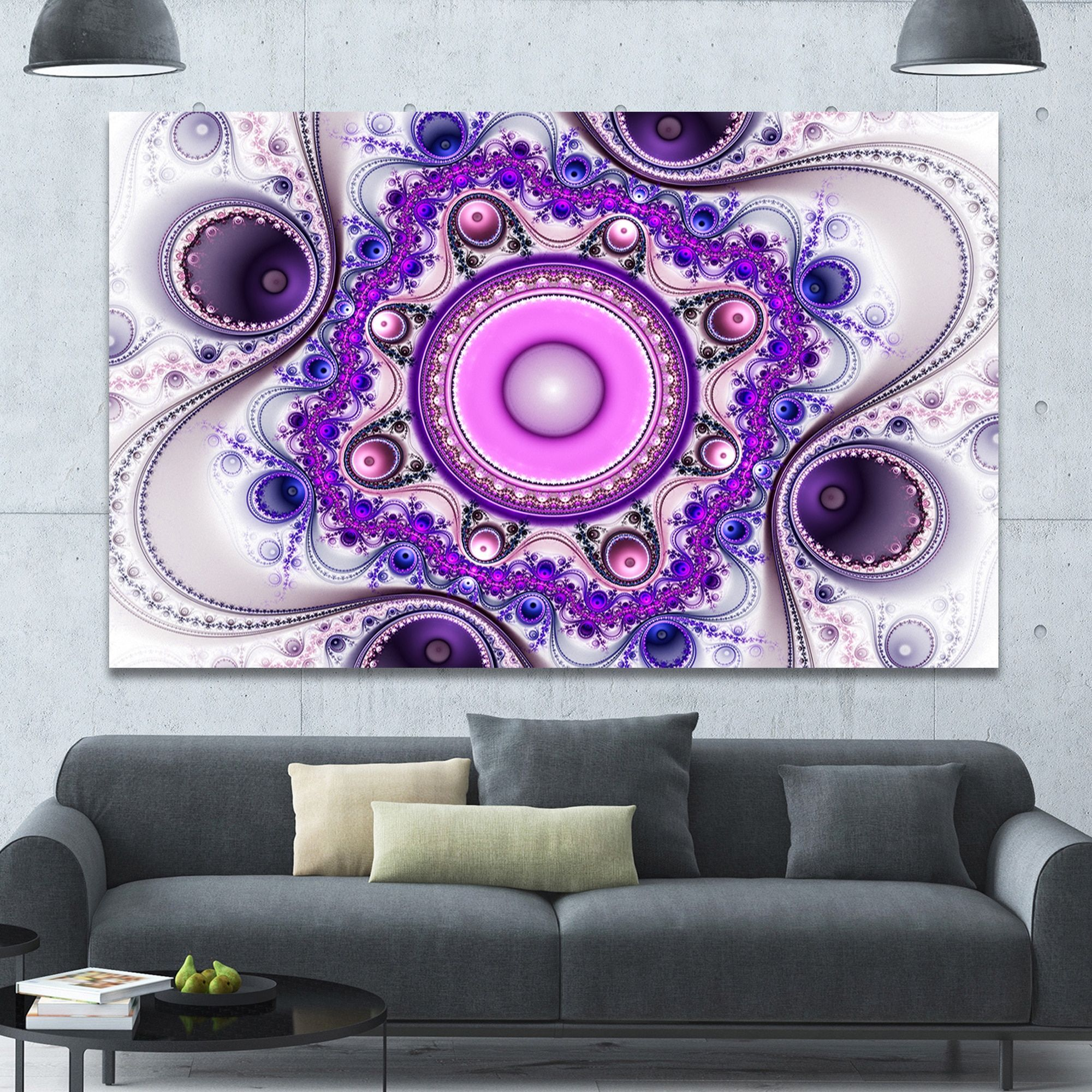 Designart 'Strange Flower with Wavy Curves' Floral Wall Art on Canvas