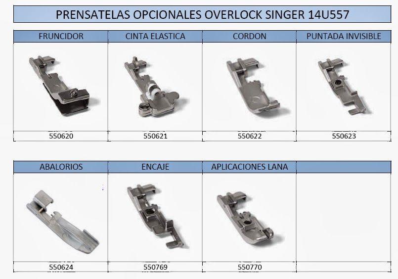 SEOANETEXTIL: Prensatelas accesorios para la overlock Singer ...