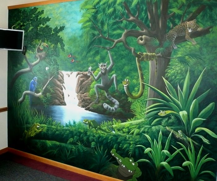 Jungle murals jungle mural wandmalerei pinterest - Dschungel malen ...