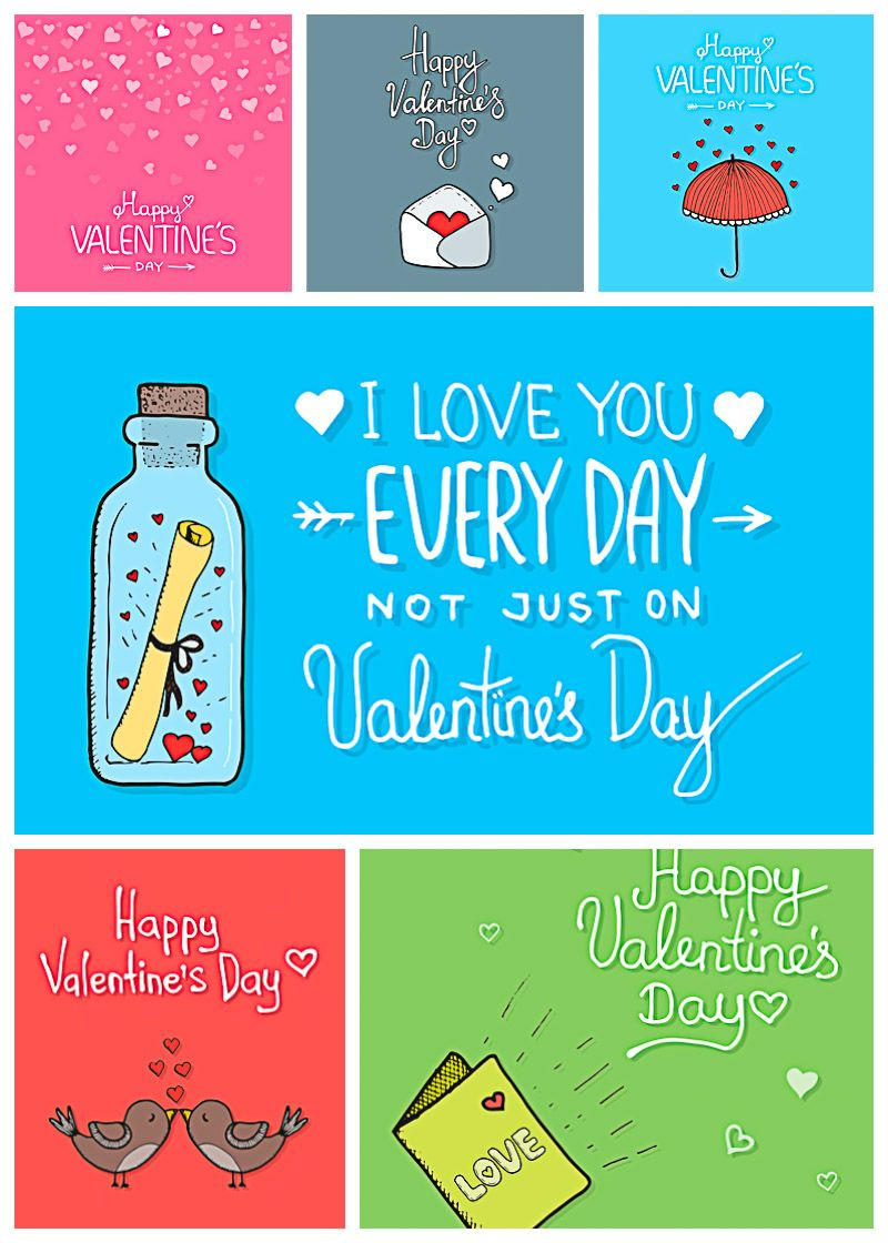 StValentines day cards with romantic letter  FREE VectorsCards