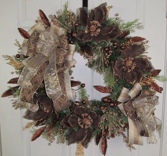 Photo of New Chocolate Magnolia Wreath,  Winter Wreath, Glitter Wreath, Elegant Wreath, Unique Wreath, Best Holiday Elegant Wreath, Unique Wreath