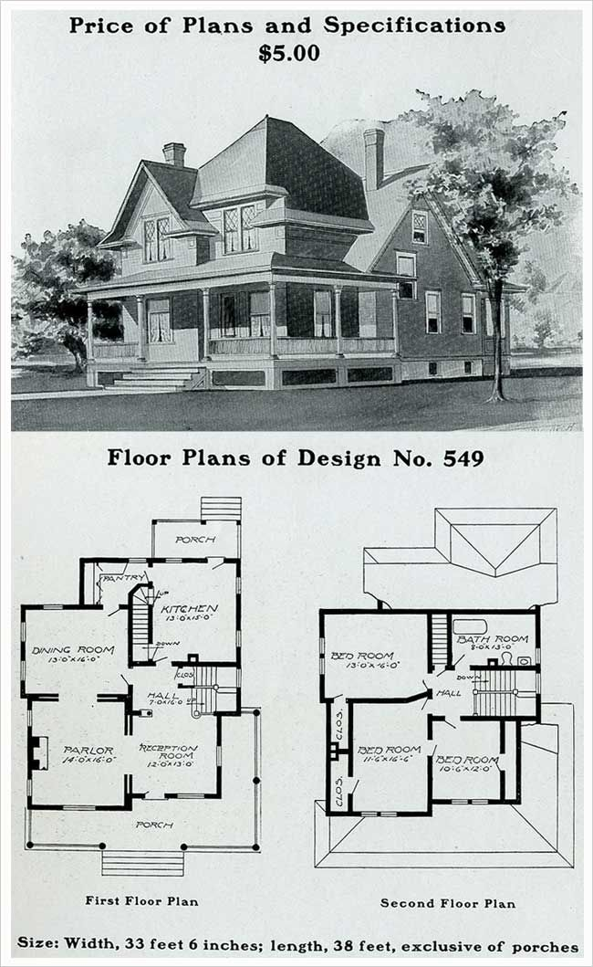 Radford 1903 Queen Anne Free Classic With Wrap Around Porch House Plans With Pictures Craftsman Style House Plans Vintage House Plans