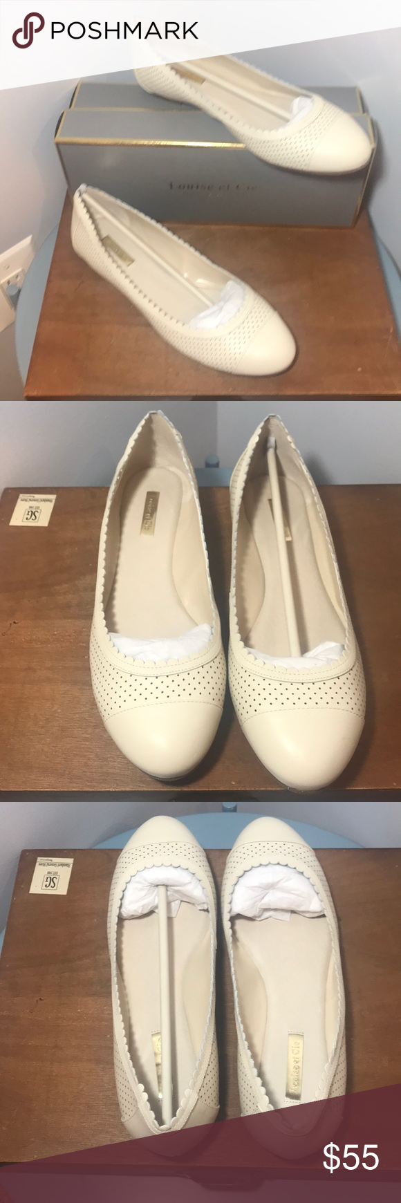 ee5cccad94f Louise et Cie Eilley Ballet Flat 10M A scalloped topline and a smooth cap  toe add to the charm of a well-cushioned ballet flat cut from rich leather.