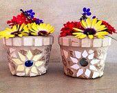 Mosaic flower pot outdoor planter gardener gift by moZEHicDesigns