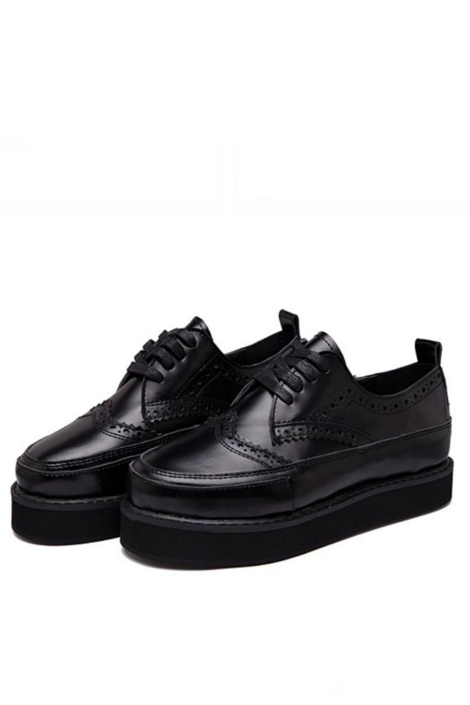 Men's Black Oxford Platform Shoes